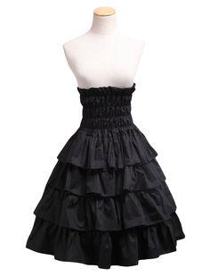 AvaLolita High Waist Ruffle Tiered Black Gothic Lolita Skirt, S