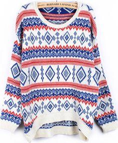 Blue Long Sleeve Geometric Pattern Sweater US$25.99