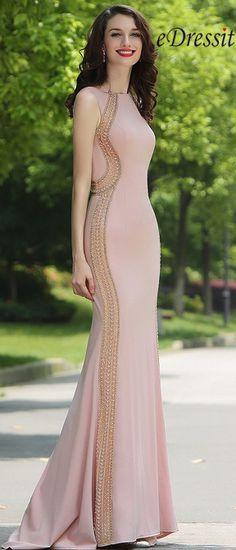 [USD 359.99] Carlyna Blush Beaded Mermaid Formal Evening Dress (E62146)