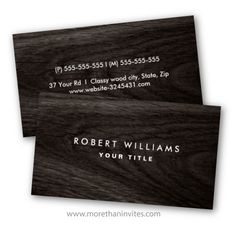 Elegant profile or business card featuring very dark printed wood grain. Customizable name and title / company name on the front and contact information on the back. Stylish design for men and women.