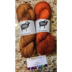 #happymail My Black Friday/ Cyber Monday shopping is starting to show up at my door...these skeins of squishy gorgeousness are from @flockfibre  skein on the left is 'spiced pecans' and the skein on the right is 'roasted pumpkin'. My autumn-colours-phase is still going strong!