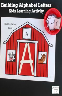 This building alphabet letters kids learning activity invites kids to build alphabet letters on a barn themed printable with white craft sticks. Kindness Activities, Printable Activities For Kids, Preschool Learning Activities, Alphabet Activities, Preschool Farm, Preschool Ideas, Teaching Abcs, Teaching Kindness, Preschool Centers