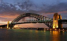 landscapes cityscapes towns skyscrapers Australia city skyline Sydney Harbour Bridge wallpaper background