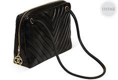 Chanel Black Lambskin Chevron Bag on OneKingsLane.com