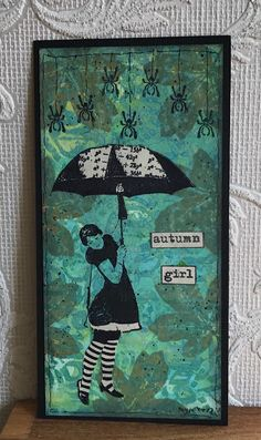 Made by Myra. Umbrella Girl, Girl Falling, Art Girl, Autumn Girl, Journey, Artwork, Stamps, Cards, Design