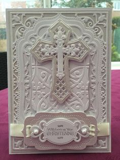 A tweak to an existing design for this religious ceremony card which is shown in a two-tone white theme, for a Christening. The card can also be tailored and personalised for a Baptism, Holy Communion or Confirmation.: