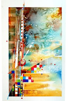 Abstract Composition 5, (Jan Smit) Water color collage