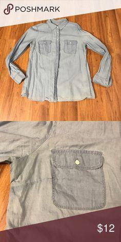 GAP denim shirt Denim button down shirt. 2 front pockets. Good condition, I just notice a couple faded spots. Very soft. 100% cotton. GAP Tops Button Down Shirts