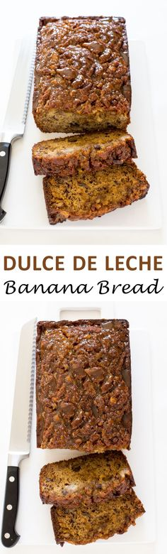 Super Moist Dulce de Leche Banana Bread - this was good, though i dont think the dulce de leche really added much to it! Pan Dulce, Pastry Recipes, Dessert Recipes, Desserts, Bread Recipes, Fall Recipes, Sweet Recipes, Salsa, Healthy Banana Bread