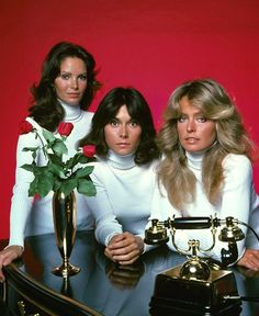 """Press photo of Jaclyn Smith, Kate Jackson and Farrah Fawcett-Majors for the 1970's TV detective show """"Charlie's Angels."""""""