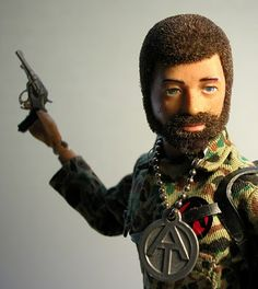 """This is Hasbro's 1970 Land Adventurer from the GiJoe Adventure Team line of action figures. As I've mentioned before, with public backlash against military toys in the late 60's and early 70's, Gi Joe needed to redefine himself as an """"adventurer"""" rather than a soldier. With newly-flocked hair and beard (vs. the beardless painted hair previous versions of Joe), the Adventure Team was ready to take on Mother Nature instead of foreign soldiers."""