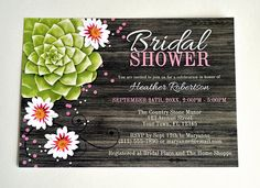 Rustic Succulent Bridal Shower Invitations  by ArtisticallyInvited, $19.00