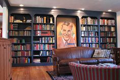 Not sure how I feel about the bookcase itself but I like the idea of the case as a frame for a big show piece.