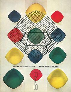 Herbert Matter graphic advertising the Bertoia Diamond Chair by Harry Bertoia.