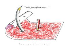 Editorial Cartoon: Philosophy, art, drawing, life is short, life expectation, pencil, drawing.