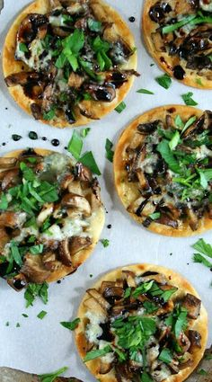 Mini Mushroom Pizzettas with Reduced Balsamic