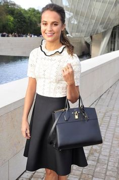 Alicia at the Louis Vuitton show at Paris Fashion Week.
