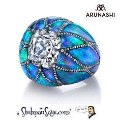 Brazilian Opal & Diamond Dome Ring byy Arunashi