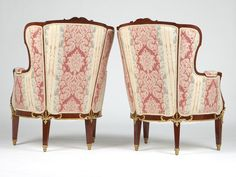 "~ Pair of French ""Belle Époque"" Louis XVI Style Mahogany, and Ormolu Mounted Bergéres Armchairs, attr. to Mâison Jansen, ca. Paris, 1900 ~ jansantiques.com"