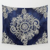 Wall Tapestry featuring Cream Floral Moroccan Pattern on Deep Indigo Ink by Micklyn