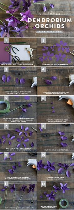 DIY Metallic Paper Dendrobium Orchids by Lia Griffith Crepe Paper Flowers, Fabric Flowers, Faux Flowers, Diy Flowers, Diy Paper, Paper Art, Papier Diy, Fleurs Diy, Paper Plants