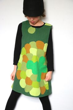 Retro 70's fabric upcycled pinafore dresses