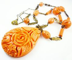 Art Deco Necklace Germany Orange Celluloid Carved Floral Geometric Design 1930s Jewelry