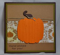 Cute and simple fall-themed card from Robyn at MyPinkStamper.com.  She used the Cuttlebug Distressed Stripes embossing folder to add texture to the pumpkin cutout.