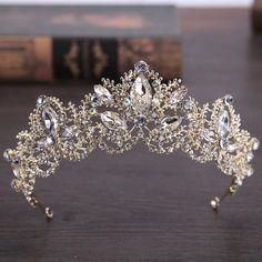 Luxury Vintage Crystal Tiara Gold Bridal Tiara Gold Bride