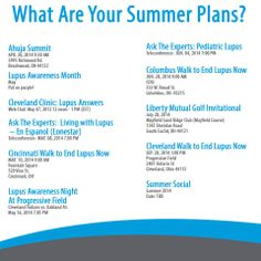 Get ready for summer by checking out the lupus events going on near you!!