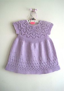 A gorgeous dress knit seamlessly in the round from the top down with a cute back button fastening to make for easy dressing. This delightful dress is also available along with 2 other pretty dresses in The Little Cutie Dress Collection E-book.
