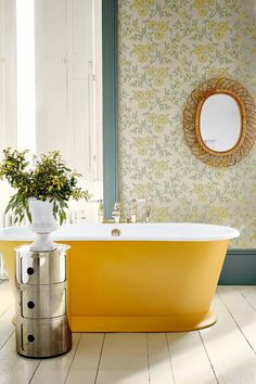 The Stitch in Highland Humber freestanding bath from Drummonds, Kartell Componibili storage unit Yellow Baths, Yellow Bathrooms, Bathroom Colors, Small Bathroom, Bathroom Ideas, Bathroom Wallpaper Yellow, Interior Wallpaper, Bathroom Bath, Bath Tub