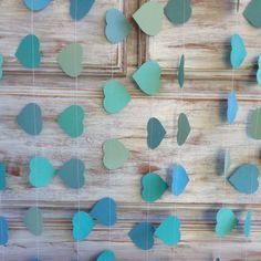 3 Metres Tropical Collection Ocean Aqua Azure Blue Heart Garland Shabby Chic beach wedding decoration, baby shower decoration