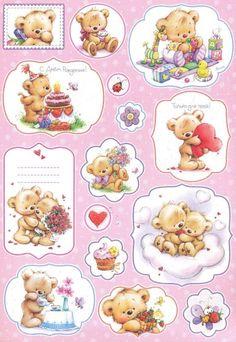 Bear Images, Teddy Bear Pictures, Teddy Bear Cartoon, Cute Teddy Bears, Printable Stickers, Planner Stickers, Cute Pictures To Draw, Baby Posters, Baby Clip Art