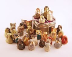 Miniature Ceramic Owls Three Surprise Owls Gift door DragonStarArt
