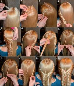 Awesome Braided Hairdo for Long Hair. Image Source: diyprojectss To make this hairstyle first centre part the hair from the front. Then start braiding from one side by taking hair in gaps and make a curved Evening Hairstyles, Braided Hairstyles, Cool Hairstyles, Gorgeous Hairstyles, Teenage Hairstyles, Fashion Hairstyles, Fantasy Hairstyles, Medieval Hairstyles, Romantic Hairstyles