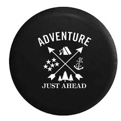 Adventure Just Ahead Spare Tire Cover  Perfect way for the adventure lover to add style to their RV, pop up camper, toy hauler, tent trailer, fifth wheel, glamper, etc...  #Wheels #camper #camperremodel #camping #sparetire #glamping  We are a participant in the Amazon Services LLC Associates Program, an affiliate advertising program designed to provide a means for us to earn fees by linking to Amazon.com and affiliated sites.