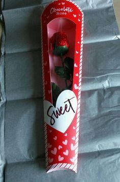 Valentines Day Love Romantic Milk Chocolate Single Rose Flower Red Foil & Stem