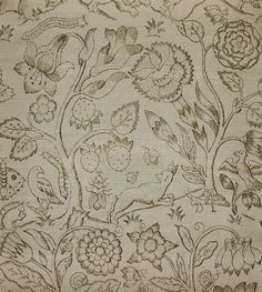 Beaufort Linen Fabric Print taken from Elizabethan embroideries depicting animals and insects in a forest black on natural