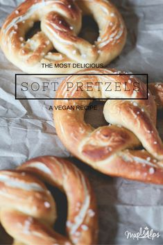 The most delicious vegan soft pretzels you'll ever make, sprinkled with pink himalayan sea salt! #MapleAlps #Vegan Vegan Foods, Vegan Snacks, Vegan Dinners, Vegan Vegetarian, Vegetarian Recipes, Vegan Appetizers, Raw Vegan, Scones, Vegan Recipes