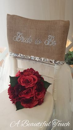Make sure the Bride to Be has a pretty seat at her Bridal Shower! This burlap and bling chair cover with tulle skirt is the perfect answer for a rustic style décor with just a bit of glam. Handmade with love by A Beautiful Touch. Bridal Shower Chair, Bridal Shower Party, Bridal Shower Decorations, Wedding Reception Decorations, Bling Bridal Showers, Unique Bridal Shower, Our Wedding, Trendy Wedding, Wedding Stuff