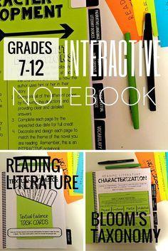 Reading Literature Interactive Notebook Grades 7-12