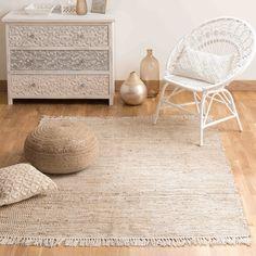 Gevlochten katoenen en jute tapijt 200 x 300 cm   Maisons du Monde