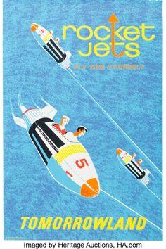 "Animation Art:Poster, Disneyland Park Entrance Poster ""Rocket Jets"" Tomorrowland (WaltDisney, 1967)...."