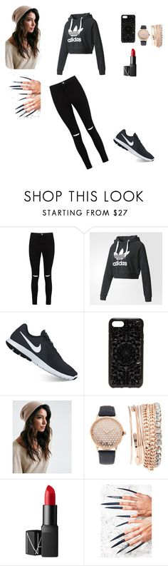 """Roxy's cloths"" by eleonora83 on Polyvore featuring Boohoo, adidas, NIKE, Felony Case, Jessica Carlyle, NARS Cosmetics and Rave Nailz"