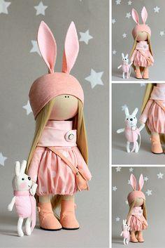 Rabbit doll handmade, rag doll, interior decor doll, art doll, baby doll, doll present
