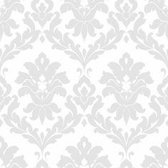 Gray Traditional Damask Wallpaper
