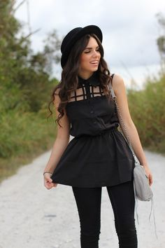 Cut out shirt from 2020ave- rebecca minkoff bag, jc penney jeans, forever 21 hat!