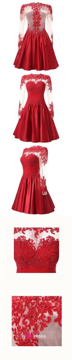 2017 Sexy Burgundy Short Prom Dress,Illusion Backless Prom Dress,Mini Satin Party Dress,Prom Dress with Long Sleeves