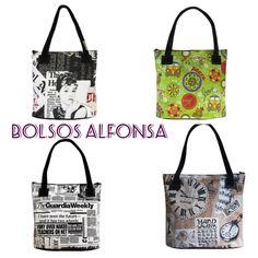 Bolsos Alfonsa de hule estampado combinado con piel sintética de colores. Elige estampado y piel y combínalo a tu gusto. www.arethaju.com